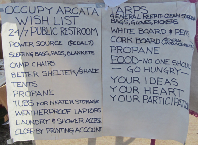 This wish list suggests Occupy Arcata may be settling in for a long stay.