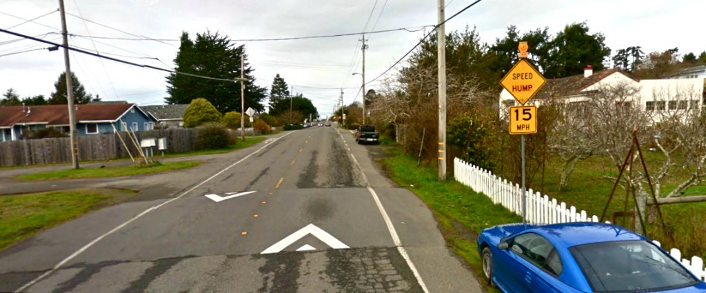 A Google Earth image of the now-removed speed hump at Old Arcata Road and Golf Course Road.
