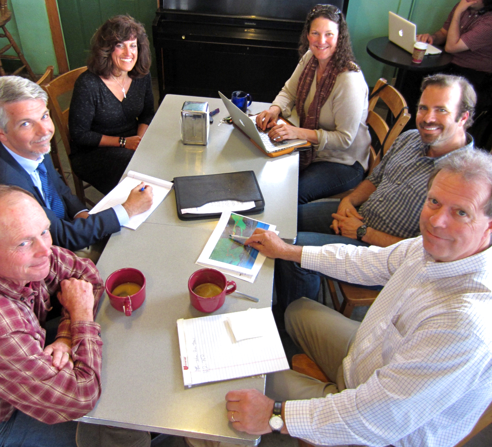 The Arcata Ridge Trail Committee meeting at the Coffee Break. Clockwise from lower left, Uri Driscoll, Mark Lovelace, Debi Farber Bush, Georgianna Wood, Kirk Cohune and Mark Andre.   KLH | Eye
