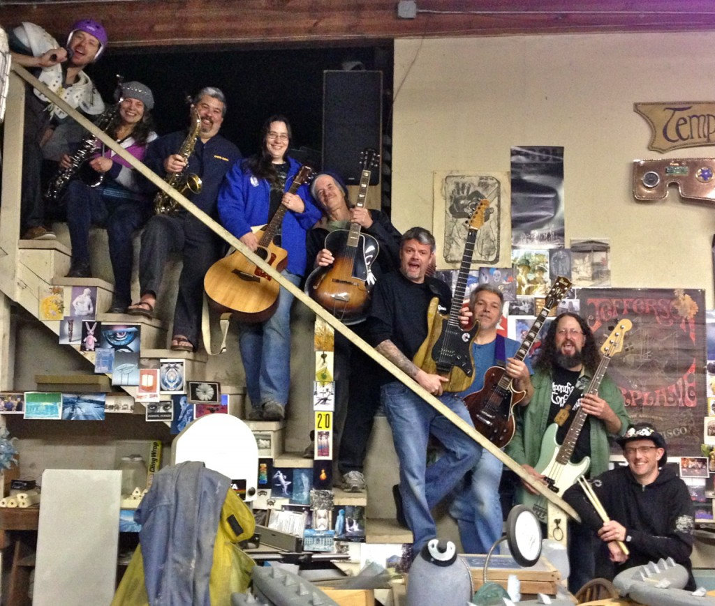 Members of the Arcata Eye Rockestra took a break from rehearsing Sunday night to smile for the camera. Left to right: Andrew Goff, Marla Joy, Gene Joyce, Morgan Magpie Corviday, Rick Park, Wolf Navarro, Mark Lovelace, Dan Davis and Kelly Brannon. Not pictured: Terrence McNally, Gil Cline, Kelly Hoover and Kevin Hoover. KLH | Eye