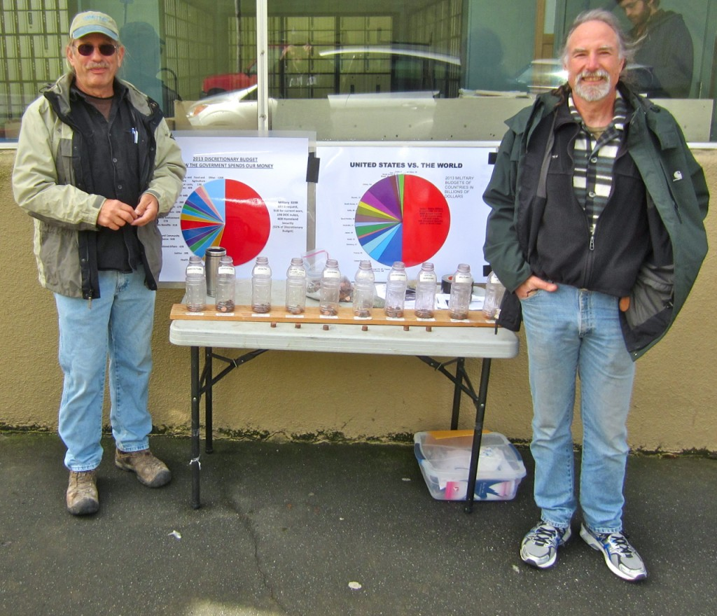 Dave Meserve and Dave Keniston outside the Arcata Post Office on April 15, 2013. KLH | Eye
