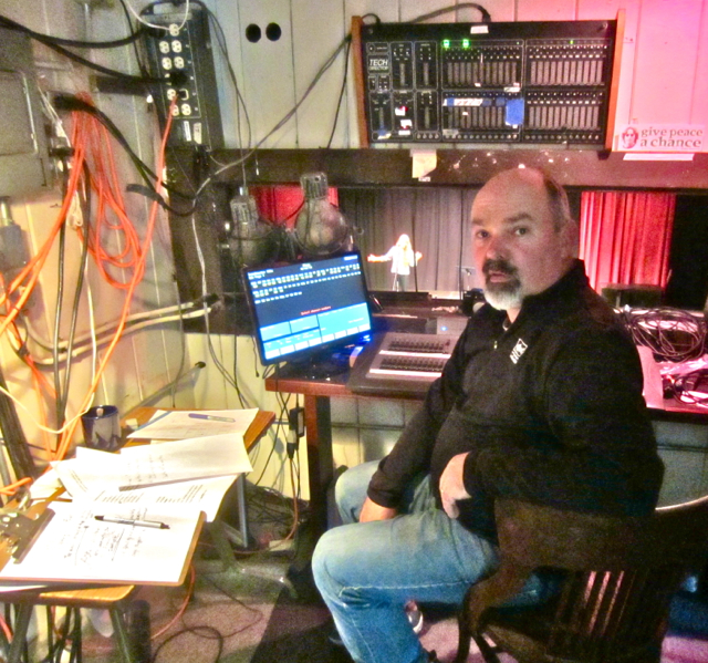 David Ferney in the sound and lighting booth, and Ali Freedlund on stage at the Arcata Playhouse during rehearsal last Sunday afternoon. KLH | Eye
