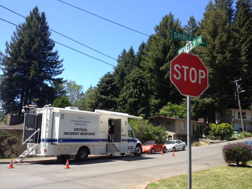 APD's Critical Incident Response Vehicle served as a base of operations Sunday at Shirley Boulevard and Beverly Drive in Sunny Brae as police searched for the weapon used is Saturday's twin homicides. Submitted photo
