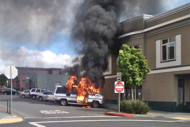 The suspected hash van, engulfed in flame at Ninth and I streets. Photo courtesy Ryan Freitas