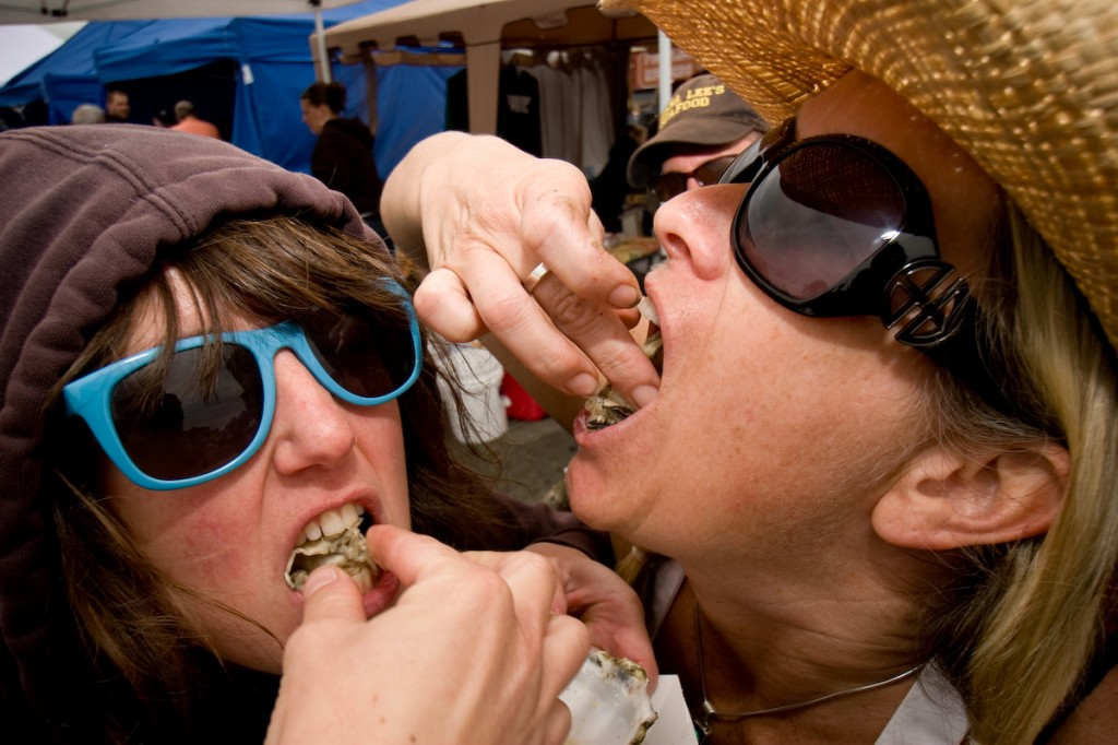 Serious slurping ahead at the 2013 Arcata Main Street Oyster Festival.
