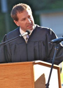 "Dan Johnson reading Wellesley High School English teacher David McCullough, Jr.'s ""You Are Not Special"" speech as though it was a letter he had written to his daughter at the 2013 Arcata High School Commencement Ceremony. Submitted photo"