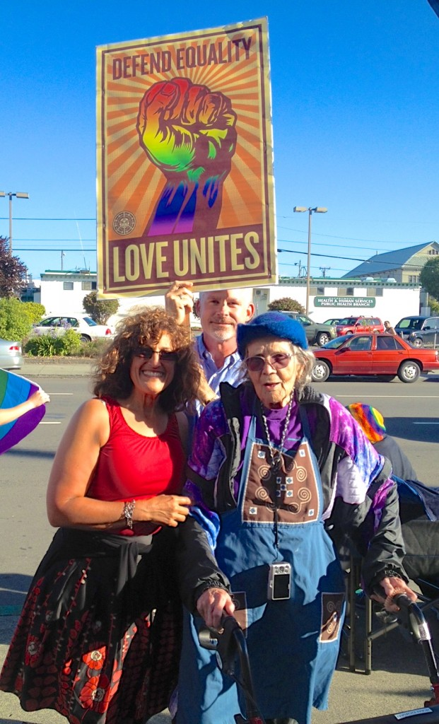 Debi Farber Bush, Todd Larsen and Jean Doran at Wednesday's Prop 8/DOMA celebration in Eureka.