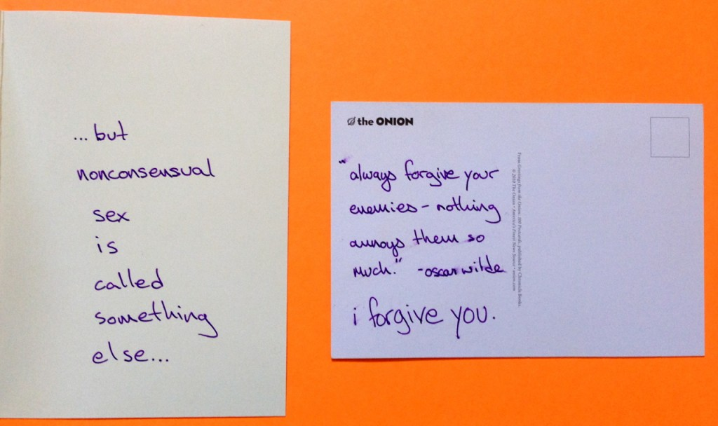 The backs of the cards, with messages to Koopman from Patterson.