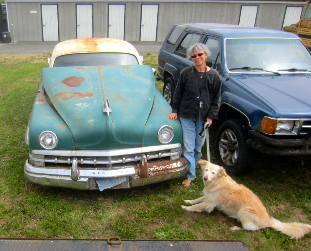 Geraldine and Poppy with the 1950 Lincoln Cosmopolitan at Arcata Bay Storage. Photos by KLH | Eye