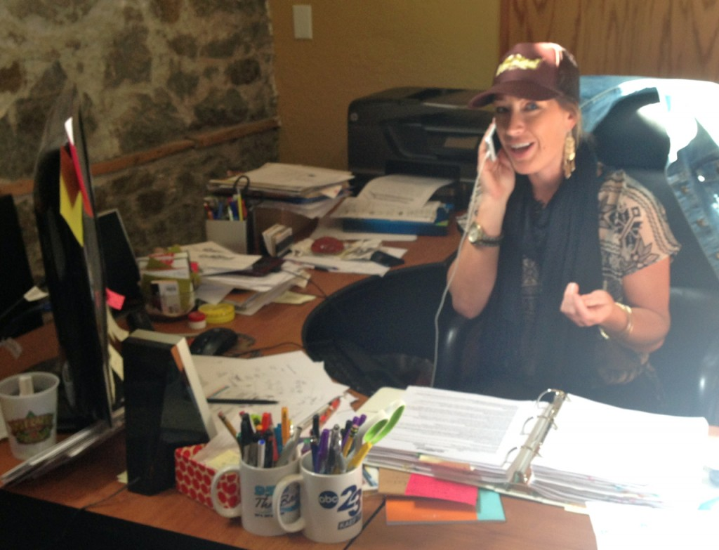 Arcata Main Street Director Jennifer Koopman works out OysterFest details in her AMS office.