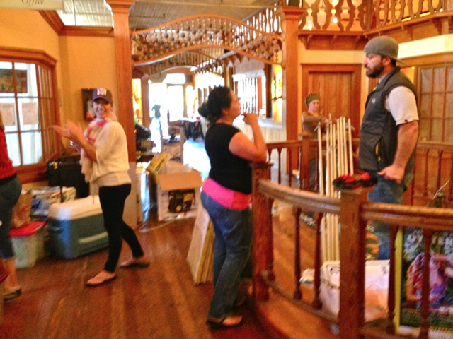 Jennifer Koopman, left, directs preparations for tomorrow's OysterFest in Jacoby's Storehouse lobby. KLH | Eye