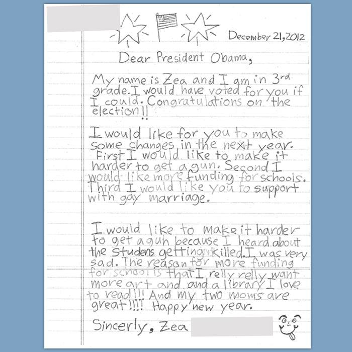 Nora and Lara's daughters' letter to President Obama.