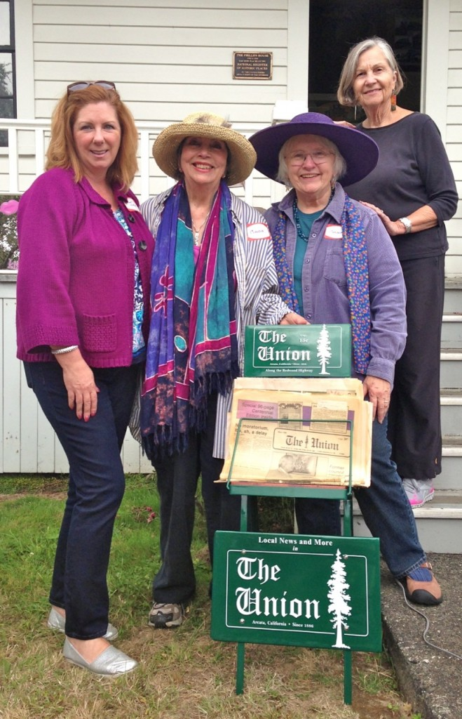 The restored Arcata Union newspaper rack was turned over to the Historical Sites Society of Arcata today. It may be viewed at Phillips House Museum. Left to right, Julie Vaissade-Elcock, Claudia Israel, Carolyn Otis and Alex Stillman. Photos by KLH | Eye
