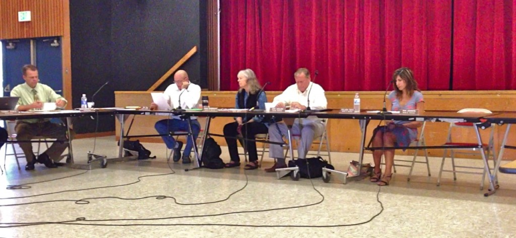 NHUHSD Superintendent Chris Hartley and four-fifths of the Board of Trustees at the June 26 meeting. KLH | Eye