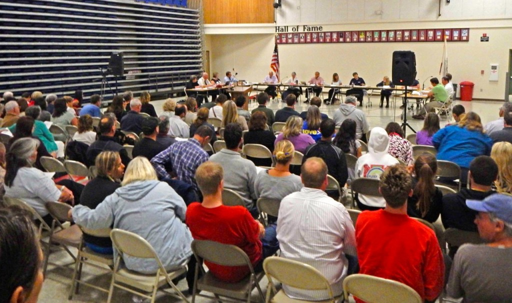 The packed NHUHSD Board of Trustees meeting. Photo by Jack Durham | Mad River Newspaper Guild