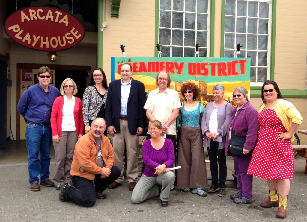 Creamery District leaders, artists and benefactors gathered at the Old Creamery/Arcata Playhouse today to celebrate the artists' funding. KLH | Eye